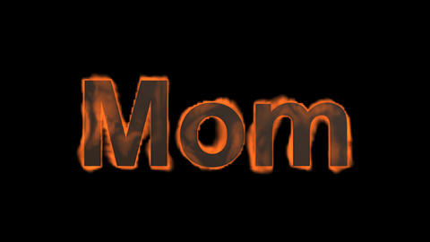 flame mom word,fire text Stock Video Footage
