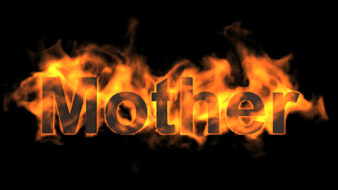 flame mother word,fire text Animation