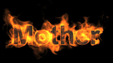 flame mother word,fire text Stock Video Footage
