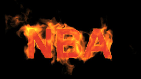 flame NBA word,fire text Animation