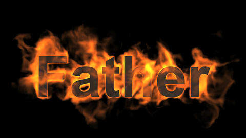 flame father word,fire text Stock Video Footage