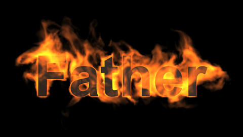 flame father word,fire text Animation