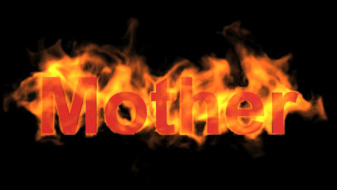 flame red mother word,fire text Animation