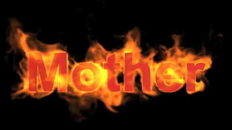 flame red mother word,fire text Stock Video Footage