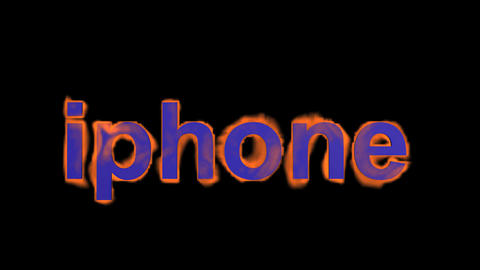 flame blue iphone word,fire text Stock Video Footage