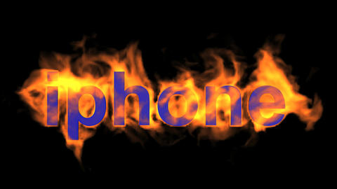 flame blue iphone word,fire text Animation