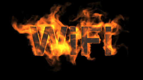 flame wifi word,fire text Stock Video Footage