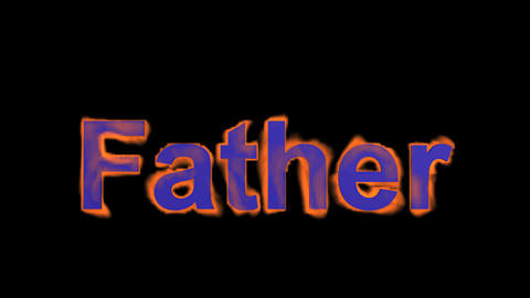 flame blue father word,fire text Stock Video Footage