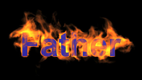 flame blue father word,fire text Animation