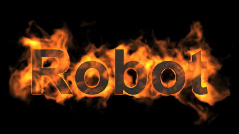 flame robot word,fire text Stock Video Footage