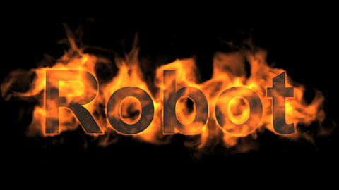 flame robot word,fire text Animation