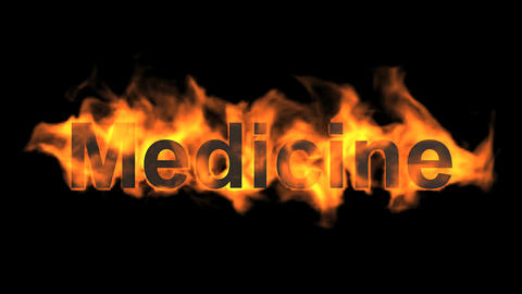 flame medicine word,fire text Animation