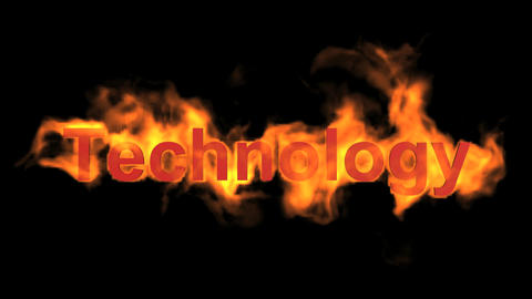 flame technology word,fire text Animation