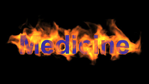flame blue medicine word,fire text Animation