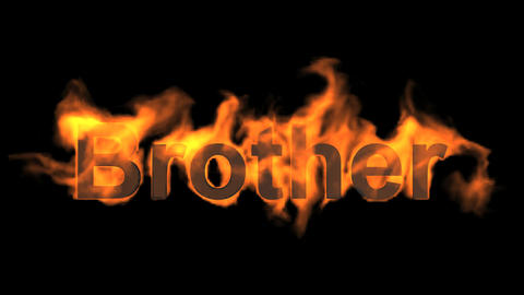 flame brother word,fire text Animation