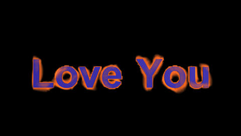 fire blue love you,flame text Stock Video Footage