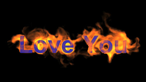 fire blue love you,flame text Animation