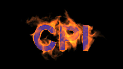 flame blue CPI word,fire text Animation