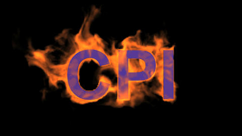 flame blue CPI word,fire text Stock Video Footage