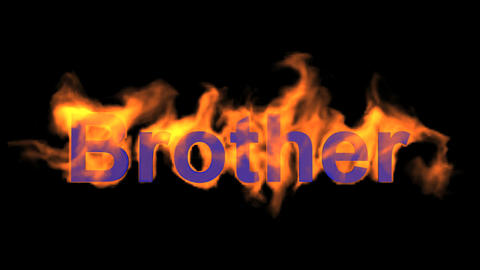 flame blue brother word,fire text Animation