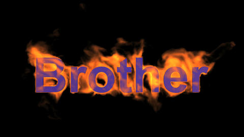 flame blue brother word,fire text Stock Video Footage
