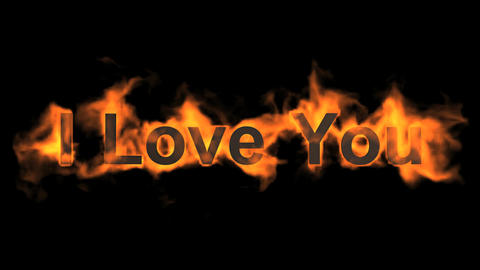 fire I love you,flame text Stock Video Footage