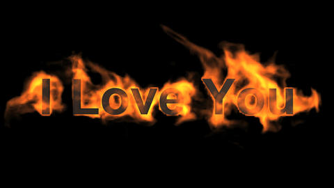 fire I love you,flame text Animation
