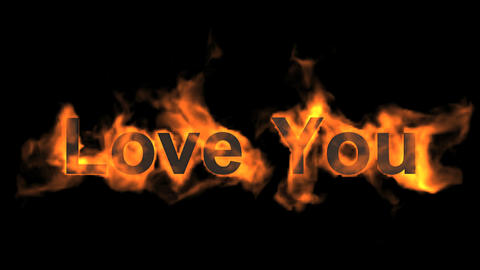fire love you,flame text Stock Video Footage