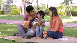Young Asian Family Teaching Son to Read in Park - Dolly... Stock Video Footage