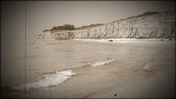 Seacoast. The effect of old film Stock Video Footage