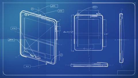Tablet PC Blueprint Stock Video Footage