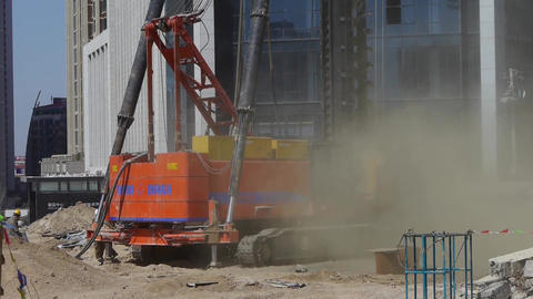 drill machinery working in Construction site &... Stock Video Footage