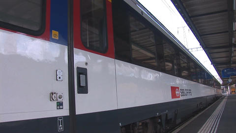 swiss train departs Stock Video Footage
