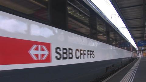 swiss train departs Stock Video Footage