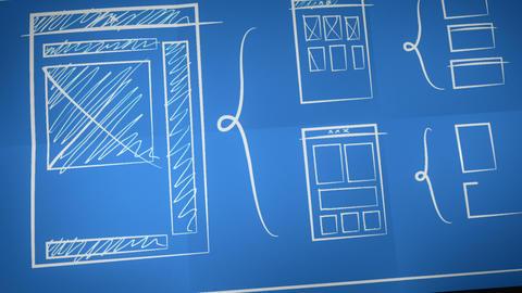 Stylized Interface Design Process Blueprint Animation Stock Video Footage