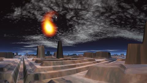 Meteor over the city of aliens, Stock Animation