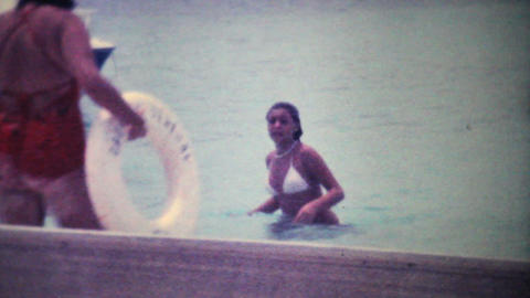 Gorgeous Girl In Bikini Walks Out Of The Ocean 1979... Stock Video Footage