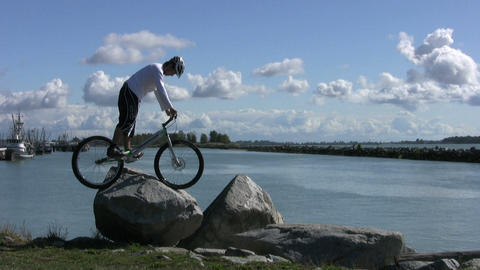 Trials Mountain Bike Jumping On Rocks Stock Video Footage
