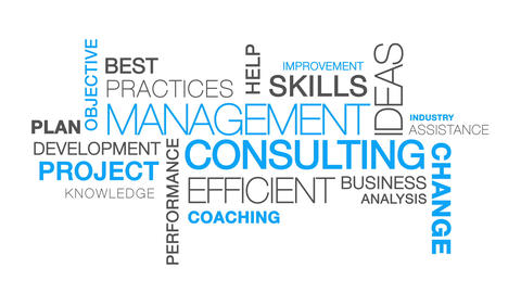 Management Consulting word cloud text animation Animation