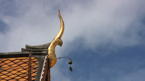 Temple Roof With Bell Footage