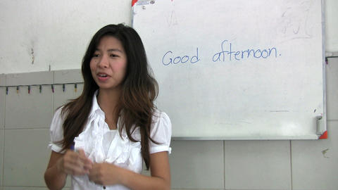 Thai Lady Teaching English Class Stock Video Footage