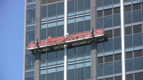 Window Repairmen Working On Office Building Stock Video Footage