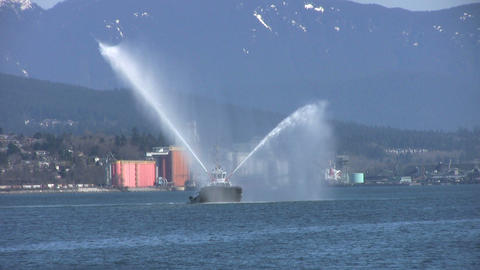 Tug Boat Spraying Water Stock Video Footage