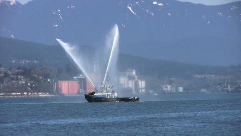 Tug Boat Spraying Water Stock Video Footage