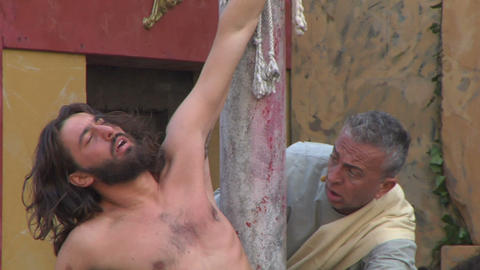 christ flagellation slow motion 01 Stock Video Footage