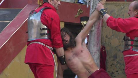 christ flagellation slow motion 03 Stock Video Footage