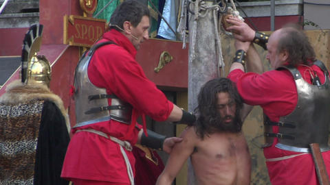 christ flagellation slow motion 03 Stock Video Footage