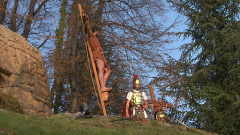crucifixion robber legionaries 01 Stock Video Footage