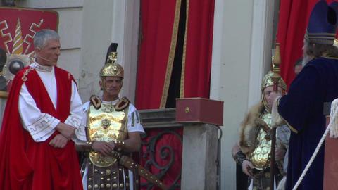 pilate tribunal barabbas caiaphas Stock Video Footage