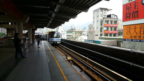 Train departs from Tamsui Station to Taipei Live Action